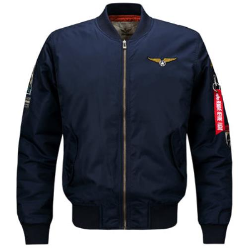 Thick-Winter-Men-Bomber-Jacket-Air-Force-One-Hip-Hop-Patch-Slim-Fit-Pilot-Jacke thumbnail 7