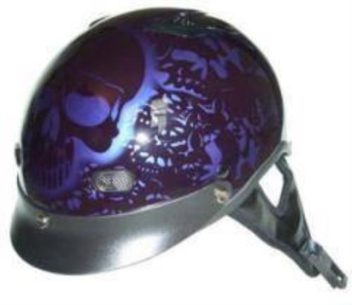 D.O.T. Purple Boneyard Motorcycle Half Helmet